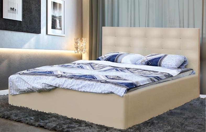"""Кровать двойная """"Виктория"""" (1400) с откидным механизмом (кож. зам. бежевый TEX CREAM)"""