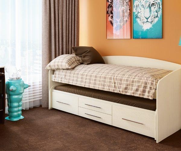Кровать двухъярусная Адель - 5 (дуб молочный)
