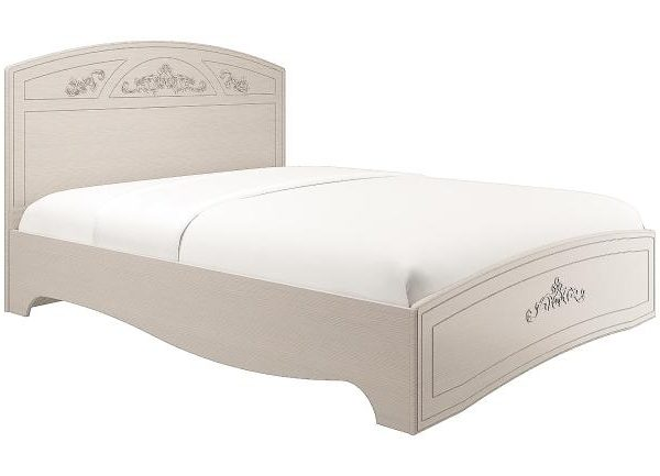 """Кровать двухспальная """"Каролина"""" с ортопедическим основанием (1400) (Патина) (вудлайн кремовый)"""