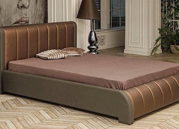 """Кровать интерьерная """"Калипсо"""" (ш.1600) с под. мех. (кож. зам. серый/кож. зам. корица)"""