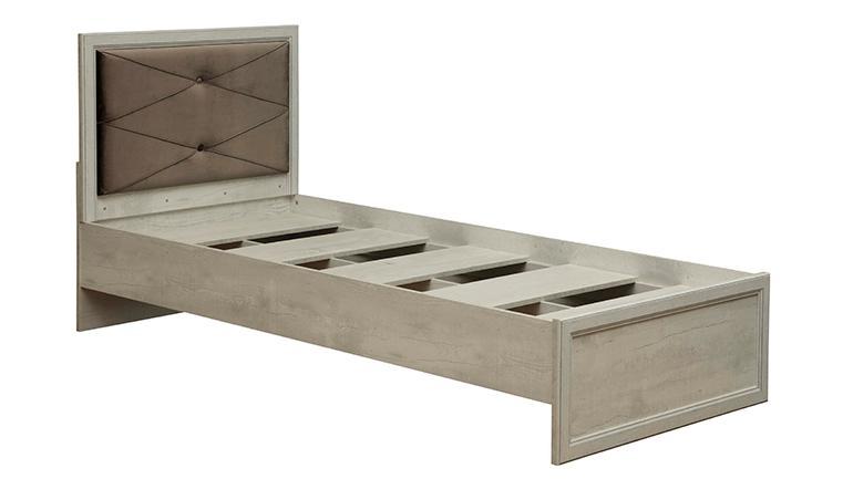 """Кровать одинарная 32.23 с настилом """"Сохо"""" (ш.900) (бетон пайн белый / профиль: Kroning бетон пайн белый патина / ткань: велюр серый)"""