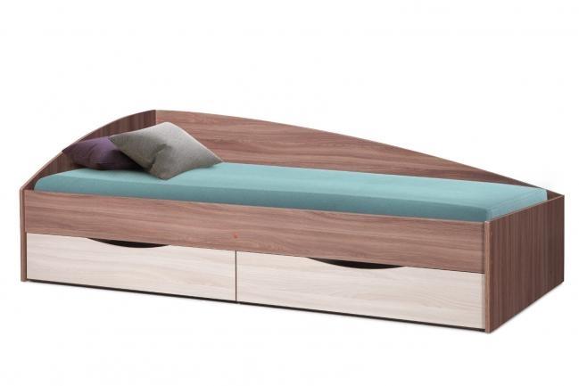 """Кровать одинарная """"Фея-3"""" (асимметричная) (1900х800) (ясень шимо темный/ясень шимо светлый/ДВПО: белый)"""